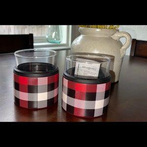 2 Whisky glass & koozi plaid